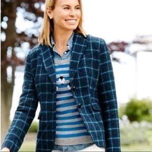 Talbots Equestrian Style Plaid Wool Blazer SZ 16